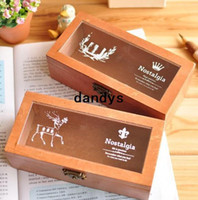 Wholesale Vintage Northern Europe series DIY Multifunction Wooden clean up box Noverty storage case container pencil box