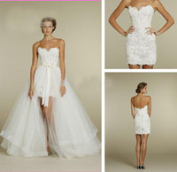 Wholesale NEW Sweetheart Two Piece Design Lace Short Mini Bridal Gowns Detachable Train Tulle Wedding Dresses