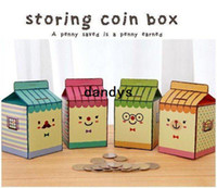 money piggy bank - Freeshipping New creative milk DIY storing coin box piggy bank money saving box Multifunction