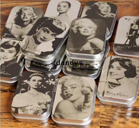 Wholesale Vintage Monroe Hepburn Portrait series DIY Multifunction jewelry box cigarette case tin iron box metal