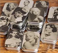 Bathing bathing portraits - Vintage Monroe Hepburn Portrait series DIY Multifunction jewelry box cigarette case tin iron box metal