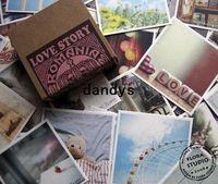 Boys' Bathing China (Mainland) Freeshipping! 70Pcs set Vintage romania love story gift card greeting Birthday wedding kraft paper box Wholesale