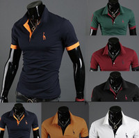 Men Polo Short Sleeve British fashion men's spring men's short sleeve POLO shirt fawn male T-shirt 6 colors wholesale 1 pcs