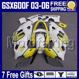 7gifts For SUZUKI KATANA 2003 2004 2005 2006 GSX600F GSX 600F 03-06 LUCKY Yellow 03 04 05 06 White kit GSXF600 2003-2006 GSXF 600 Fairing
