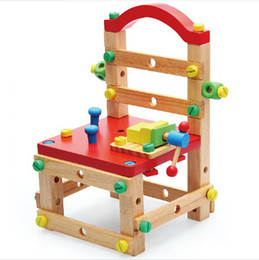 Wholesale Multi function Removable Wooden Chair Creative Building Blocks Wooden Toys Baby Color Educational Assembly Stool Kids Toys and Games XD171
