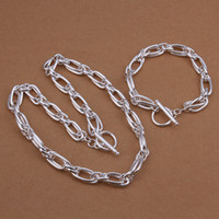 Wholesale New Million words grapes Silver plated bracelet necklace set fashion jewelry sets