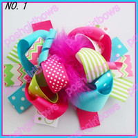 Wholesale boutique funky fun hair bows popular hair bows clips zebra character clips