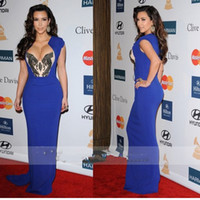 Reference Images Scalloped Chiffon Custom Made Kim Kardashian Cleavage 2012 Pre Grammy Sheath Sexy Crystal Chiffon Blue Celebrity Dresses Evening Dress Gowns