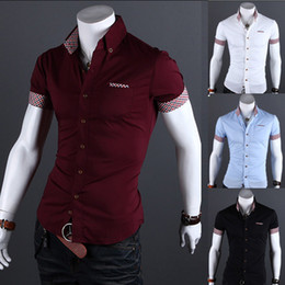 Wholesale Fashion Style Short Sleeve Men s Casual SHirt Slim Fit Shirt Colors