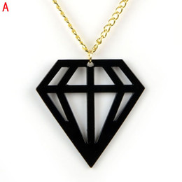 Vibrant and retro-chic,geometric shapes and neon hues,diamond shaped pendant necklace for summer 5colors NL-2017
