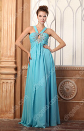 Wholesale Real Image Party Dress Halter Neckline Beaded and Crystal A line Floor length Chiffon Party Gowns dhyz