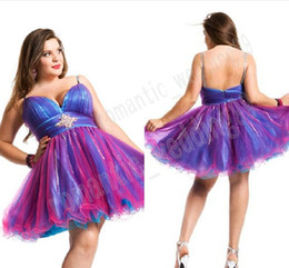 Wholesale 2013 Hot sale Colorful Ball Gown Spaghetti Sexy Plus Size Beaded Organza Short Min Prom Dress Pary Gown