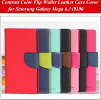 Cheap Flip Wallet Conrtast Color Leather Case Cover for Samsung Galaxy Mega 6.3 i9200