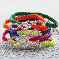 Wholesale 12PCS Silver tone with Crystal Rhinestone Sideways Infinity Charm Connector Shamballa bracelet Colors