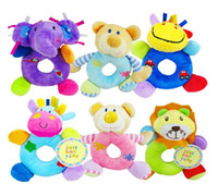 Wholesale Baby grasping rattles Cartoon animal rattle plush dolls Baby toy style can choose g