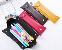 Leather   Fashion Simple Portable Pen Bag Qualities Leather Pencil Case Storage Bag Portable Pencil Pen Case Stationery Bags