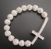 silver adjustable shamballa bracelet - 12pcs women fashion silver shamballa beads sideways cross charms adjustable bracelet