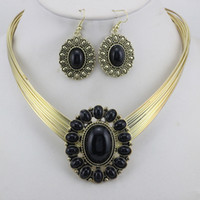 Wholesale Fashion Flower Vintage Necklace Earring Jewellery Set Costume Jewelry Mixed Colors LM S040