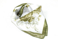 Wholesale 2013 Summer New Fashion Womens Short Square Print Flower Style Scarves Silk Scarves Green Color A15