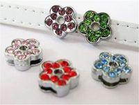 Wholesale 50pcs mm Mix Color Flower Slide Charms Fit Pet Collar amp Wristband DIY accessory