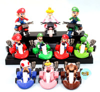 Wholesale 10 sytles Super Mario Bros Kart Pull Back Car Figure Childhood Memory Permanent Collection