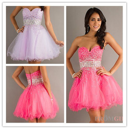 Wholesale Custom Made Hot Sexy Organza Sweetheart Pink Purple Beads Ruffles Short Mini Cocktail Homecoming Party Dress Prom Evening Gown Dresses