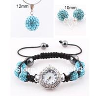 Wholesale 2016 New Turquoise Shamballa Watch Set Crystal Disco Ball Shamballa Bracelet Watch Earrings Necklace Jewelry Set Nice Gift