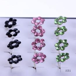 Promotion boîtes à bijoux dames 1 boîte / 20 paires / 40pcs 925 Sterling Silver 11mm Ear Stud Femme Lady Pretty Assortiment de fleurs colorées Sensitive Crystal Earrings Jewelry SC51
