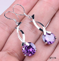 Purple Middle Eastern Women's 2pcs 1 pair 42x10mm 925 Sterling Silver Hook Earrings Dangle Charm Amethyst Rhinestone Crystal Ear Eardrop Girl Lady Earring SF174