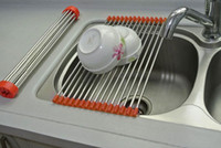 Cheap Stainless Steel Roll Draining Rack Kitchen Shelves Sink Arrange Stands Dish Drying Rack
