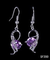 Purple Middle Eastern Women's 2pcs 1 pair 42x10mm 925 Sterling Silver Jewelry Hook Earrings Charm Purple Rhinestone Crystal Ear Eardrop Women Lady Fashion Earring SF200