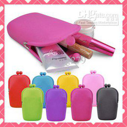 Wholesale 6pcs Silicone Coin Purse Makeup Bags Purse Money Bag Wallet Cosmetic Storage Phone Cases Silica gel