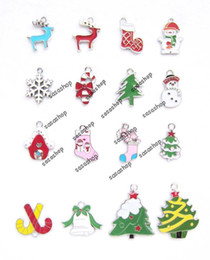 Wholesale Christmas Silver tone Mix Unique Enamel Christmas Dangle Charms Charm Pendants Jewelry Fittings For Xmas