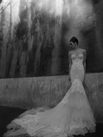 Castle inbal dror - 2012 Inbal Dror Wedding Dresses Mermaid Sweetheart Neckline Ruched Beaded Cathedral Train Lace Bridal Gowns Dhyz01