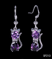 Cheap Purple Sterling Silver Earrings Best Asian & East Indian Women's Amethyst Crystal Dangle