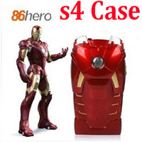 Wholesale 3D Iron Man hero MKVII LED Light Up Armor in part Plastic case PVC Back Shell For Samsung Galaxy S4 IV i9500 Protector Retail Packing