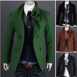 Wholesale new Double breasted wool coat men s coats mens coat men s jacket men s outwear green