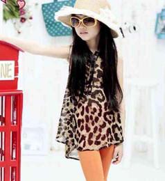 Wholesale Girl Clothes Sleeveless T Shirts Fashion Leopard Print Shirt Chiffon Shirts Kids Summer Cute Casual T Shirt Children T Shirts