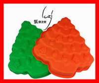 Wholesale silicone chocolate molds cupcake cups Mini Christmas Tree Moulds cake Muffin