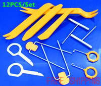 Wholesale set Auto Car Radio Door Clip Panel Trim Dash Audio Removal Installer Pry Tool Kit Plastic