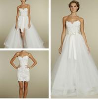 Wholesale Two in One Summer Beach Wedding Dresses Tara Keely Sheath Sweetheart Neckline Little White Dresses with Tulle Skirt