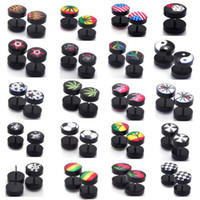 Wholesale 80pcs MM Mix Acrylic Fake Cheater Plug Taper Tunnels Ear Stud Extender Stretcher BA38 BA39 M