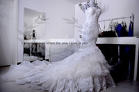 Wholesale Strapless A line Hi Lo Crystals Lace Ruffers Lace up back Inbal Dror chapel Train Wedding Dresses