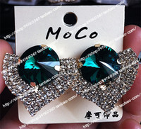 Green big earrings trend - Large rhinestone big rhinestone drop full rhinestone sparkling big stud earring the trend big earrings