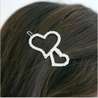 Wholesale Accessories full rhinestone cutout heart side knotted clip love hair pin girls hair bow clip accessory