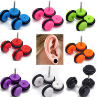 Stainless Steel fake gauges - 96Pcs Fake Gauge Kit Acrylic Plugs Studs Cheater Assorted Color Body Pierceings BA41 BA43