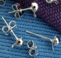 Wholesale HOT DIY mm Silver Plated Metal Earring Studs Fashion Jewelry Findings Earring Findings