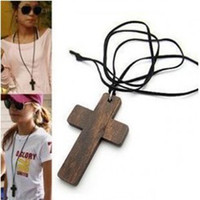 wood cross - 24pcs Fashion Wood Cross Necklace Long Sweater Chain Necklace Wooden Made Cross Pendant