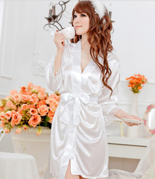 Wholesale White lace transparent sexy lingerie sexy pajamas suit uniforms temptations Kimono