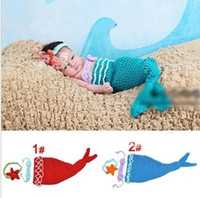 Boy Summer Crochet Hats Baby Infant Mermaid Tail Shells Crochet Knitted Mermaid Costume Set Photography Props Handmade Animal Style orangecompany